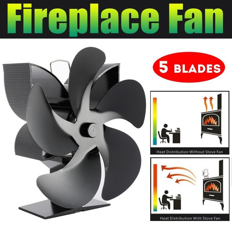 المنزل موقد على شكل مدفأة مروحة 5 شفرات مروحة تعمل بالطاقة الحرارية هادئة كفاءة توزيع الحرارة للخشب/سجل الموقد المنزل دفئا