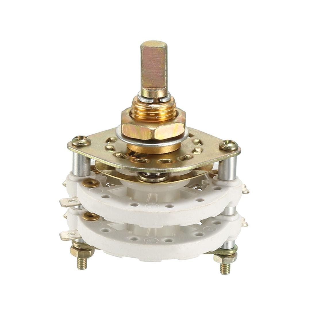 Uxcell 2P6T 2 Pole 6, interruptor rotativo de 2 pisos de lanzamiento, Selector de banda de canal de banda