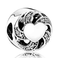 genuine 925 sterling silver beads ribbon heart charm fit original pan charms bracelet necklace diy women jewelry