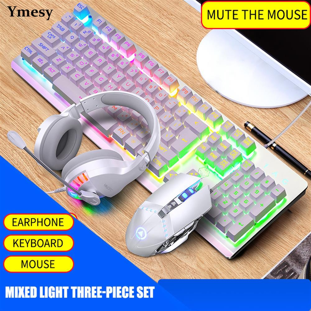 Ymesy Wired Gaming Keyboard and Mouse Combo RGB Backlit with Multimedia Keys Wrist Rest