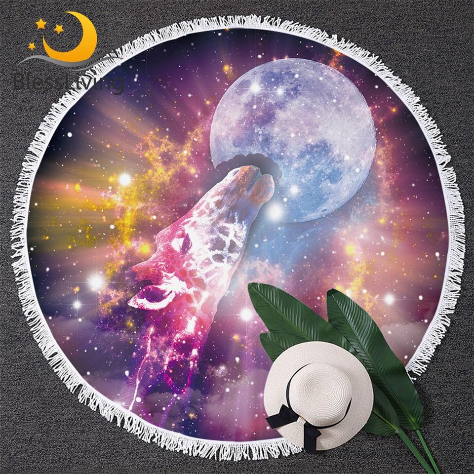 Toalla de playa redonda de la galaxia de BlessLiving, Toalla de universo psicodélica, grande para adultos, jirafa, alfombra colorida de la luna de Toalla con borla
