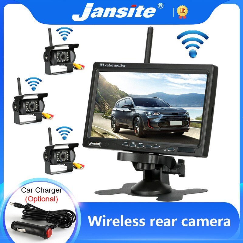 Jansite Wireless Truck Camera 7 inch For Trucks Bus RV Trailer Excavator Car Monitor Reverse Image 12V-24V Rear View Camera