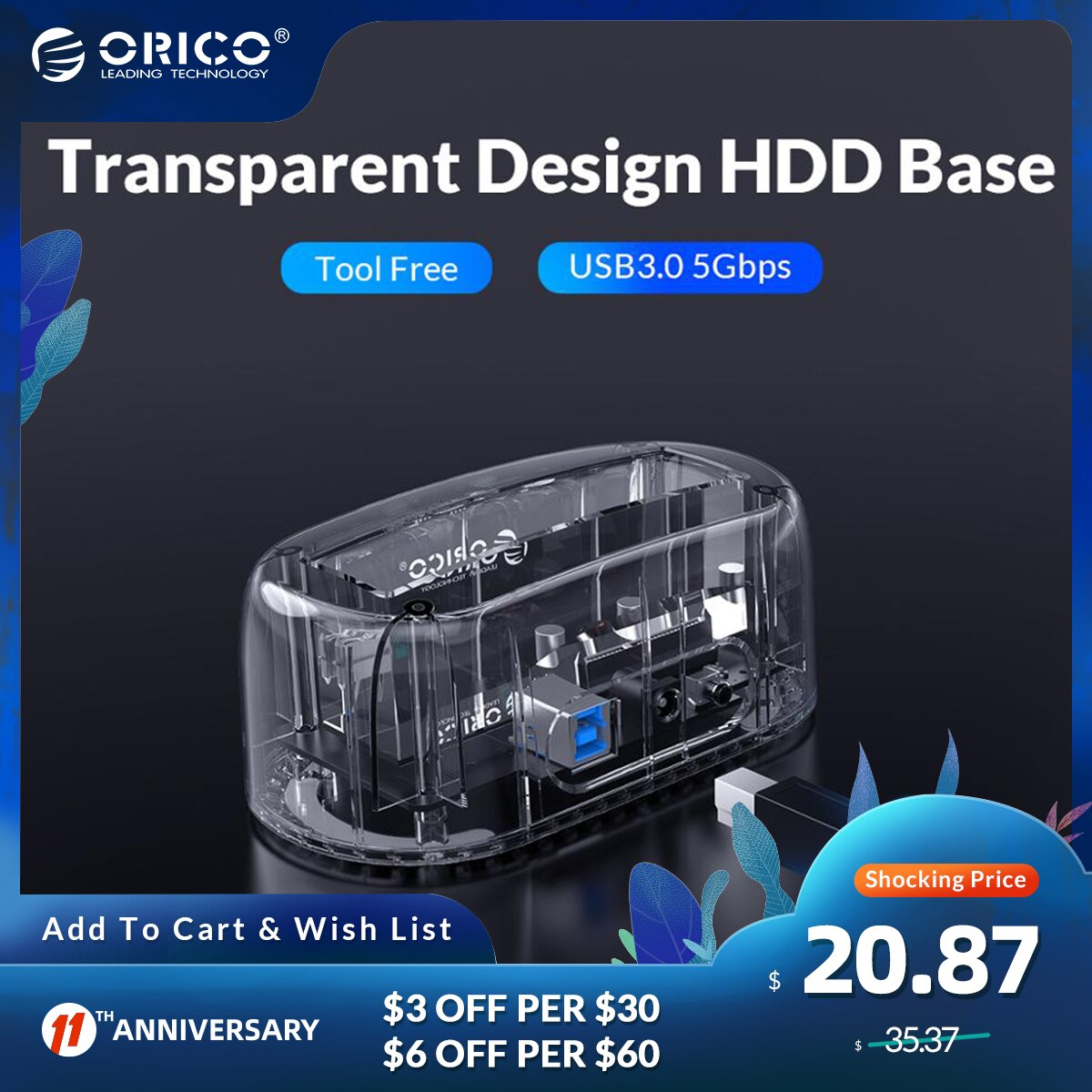 ORICO HDD Enclosure 3.5 Transparent USB 3 to SATA3.0 6Gbps HDD Docking Station UASP 16TB Drives for Notebook Desktop PC(6139U3)