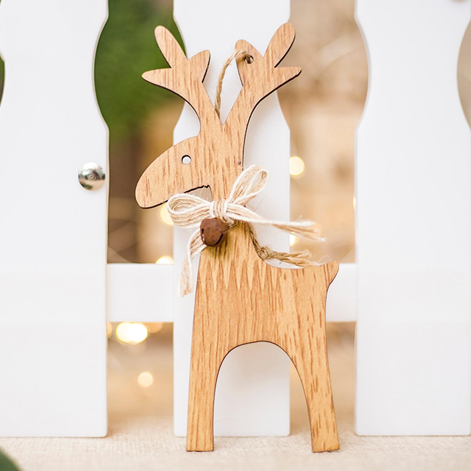 1pcs Xmas tree pendants  New Christmas wood Elk ornaments wood hanging decoration Elk New year festival party gifts decoration
