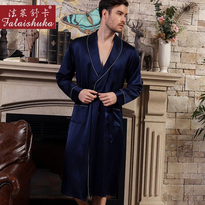 Настоящий шелк халат мужской весна осень атлас шелк с длинным рукавом простой 100% 25 натуральный шелк мужские одежда для сна халаты домашняя одежда S5626