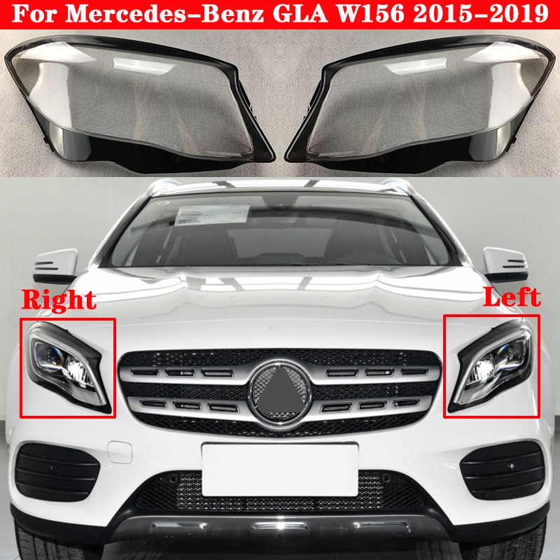 Car Front Headlight Cover For Mercedes-Benz GLA W156 GLA200 GLA220 GLA260 2015-2019 Lampcover Lampshade glass Lens Shell Caps