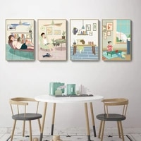 poster cartoon summer girls home life record canvas paintings watermelon electric fan posters and prints home decorative pictur