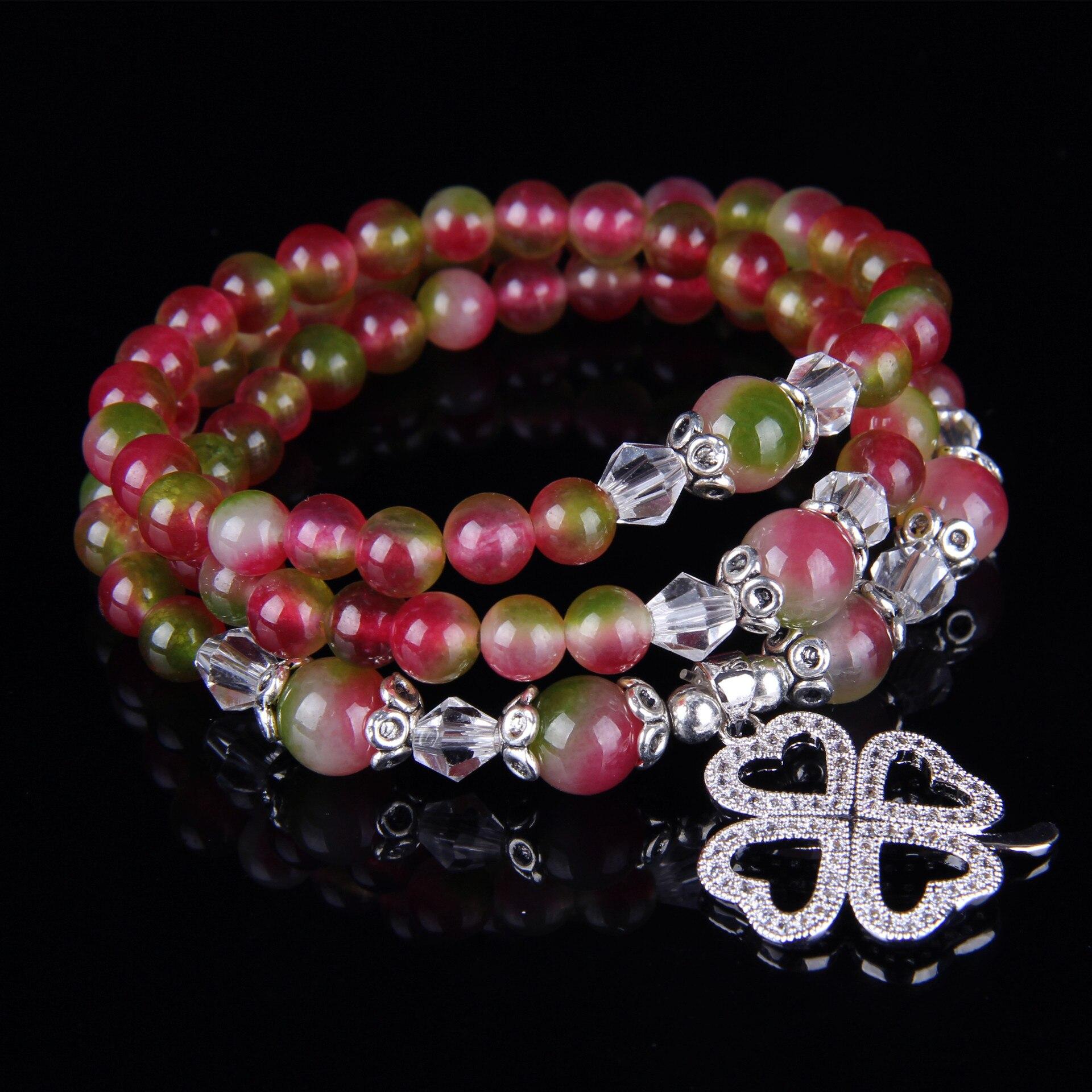 Pulsera de cristal de sandía joyería de moda trébol de cuatro hojas colgante collar joyería al por mayor nuevo Natural