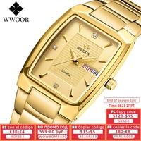 Новинка 2021, мужские кварцевые часы WWOOR с автоматической датой недели, роскошные золотые мужские наручные часы из нержавеющей стали, мужские ...