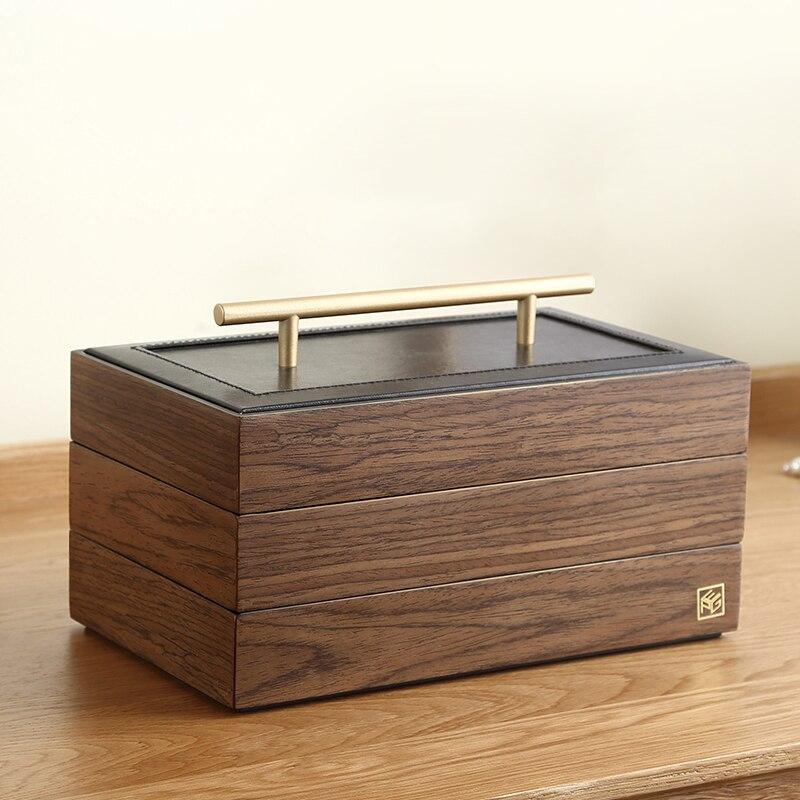 Casegrace فاخر خشبي كبير صندوق مجوهرات المنظم الخشب المخملية 3 طبقة القرط خواتم قلادة حقيبة للتخزين هدية مجوهرات النعش