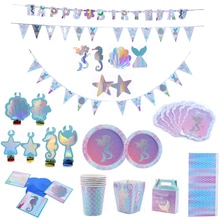 Mermaid Party Disposable Tableware Birthday Party Decor Child Girl Decoration Birthday Party Decoration Supplies Baby Shower