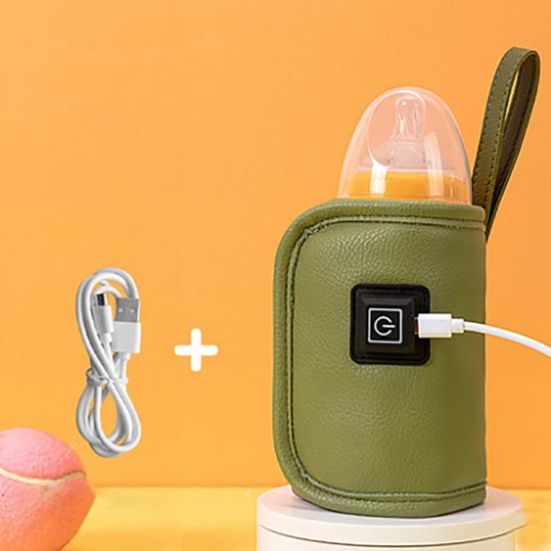 Портативный подогреватель для детской бутылки T5EC, кожаный подогреватель для автомобиля с Usb-зарядкой, дорожная чашка, термостат для бутылки...