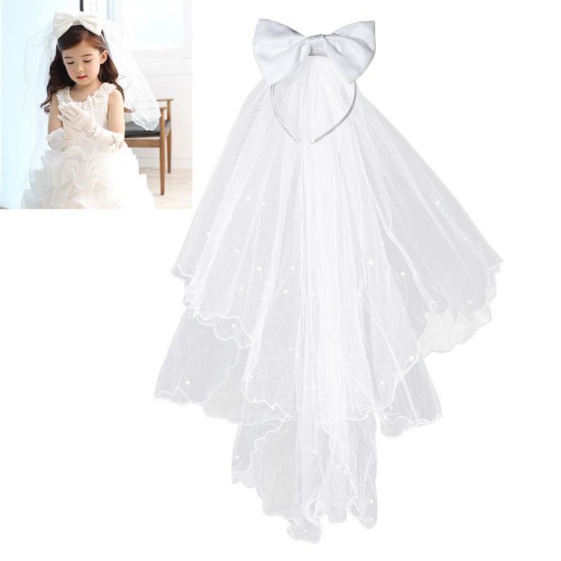 Flor menina véus de noiva branco casamento véus de noiva primeira comunhão grinalda de cabelo com arco para noiva casamento acessórios