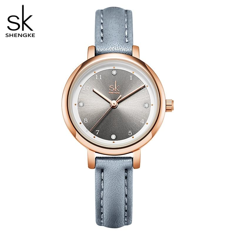 Shengke Women Watches Slim Leather Strap Mini Dial Japanese Quartz Movement Elegant Relogio Feminino Gift Watch Reloj Mujer