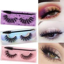 1 Pair False Eyelashes with Brush 3D Long Lasting Natural Eyelashes Extension Thick Long Eye Beauty