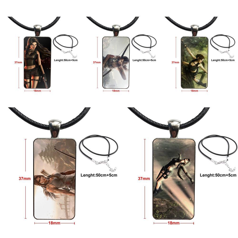 Collar de cabujón colgante de vidrio a la moda de Tomb Raider, con joyería de declaración chapada en acero para colegiala Maxi