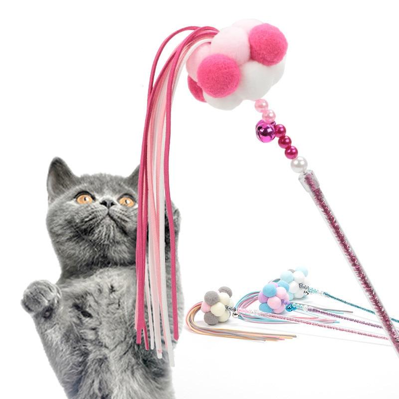 Gato de fadas vara com borla brinquedo do gato com sino produtos para animais de estimação brinquedo para gatos engraçado gato apanhador teaser engraçado brinquedo do gato fonte do animal de estimação 1pc