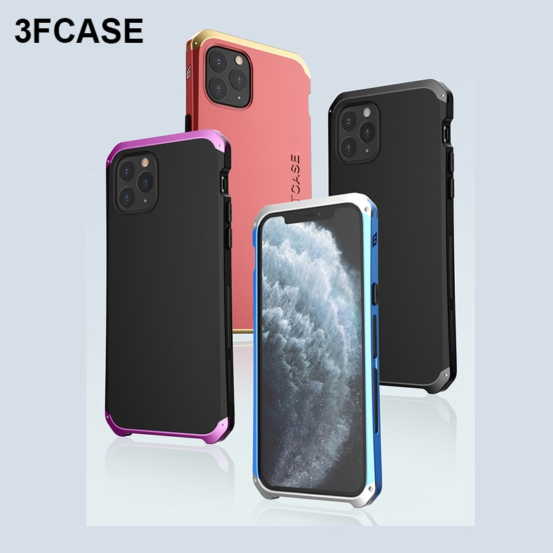 À prova de choque caso armadura de metal para iphone 11 pro max x xr xs max caso luxo alumínio + capa para o iphone 5S 6s 7 8 mais funda