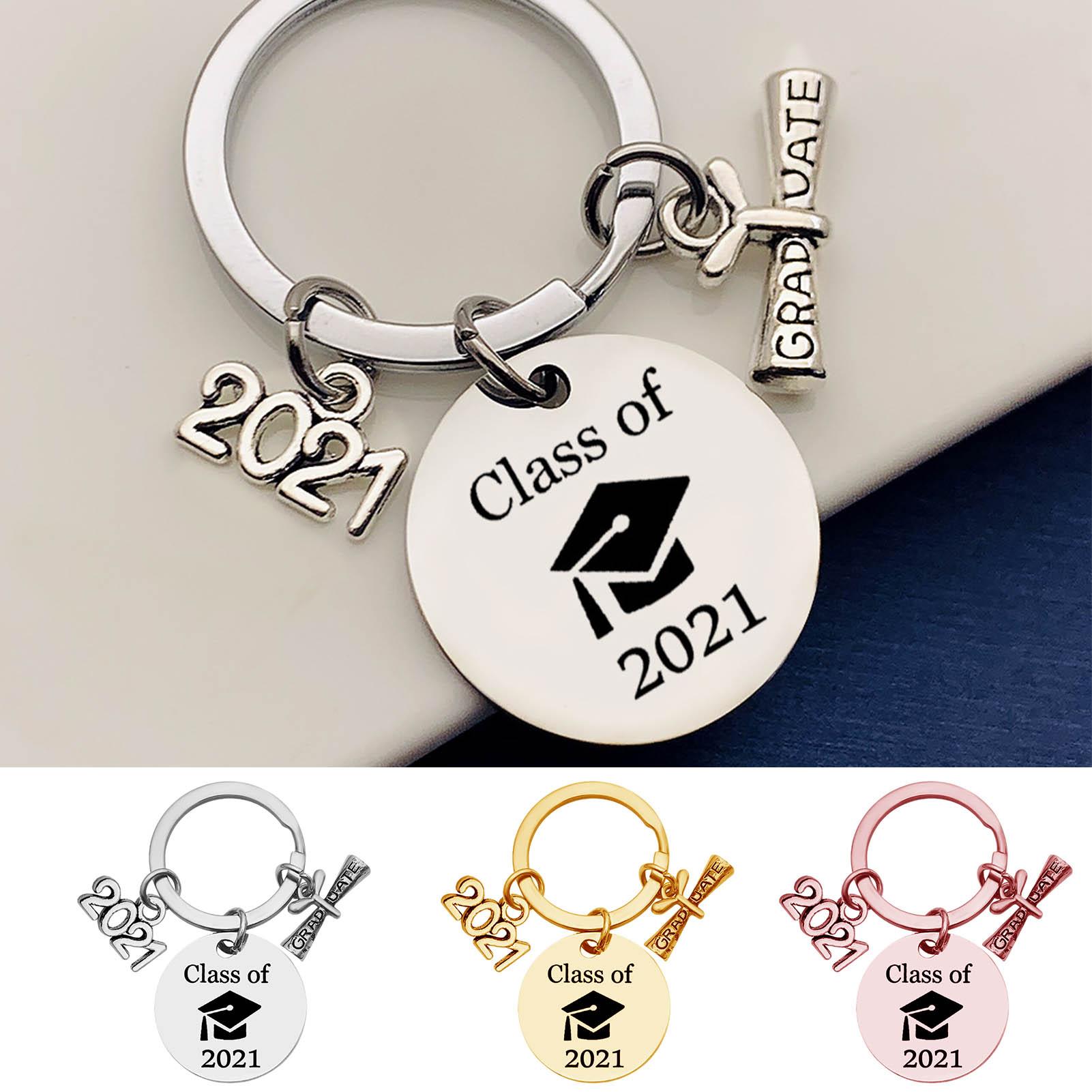 2021 Graduation Souvenir Keychain Class Stainless Steel Key Ring For High School College Graduation