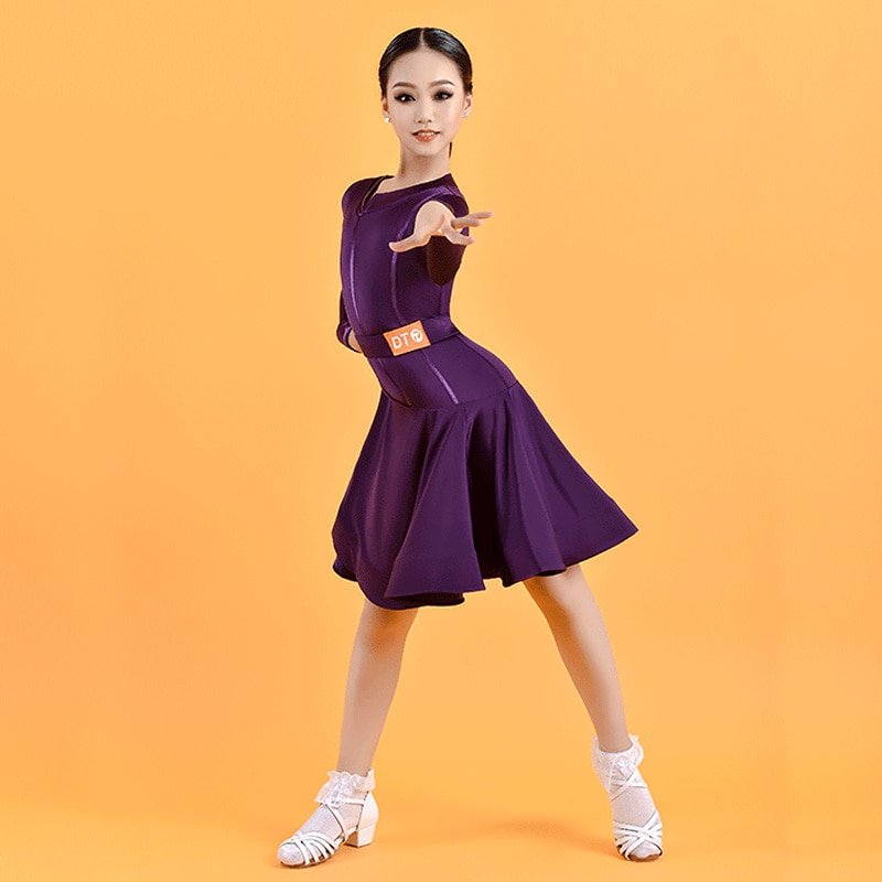 2021 Fall Latina Dance Dress For Girls Stage Costume Purple Competition Dresses Salsa Dance Wear Bal
