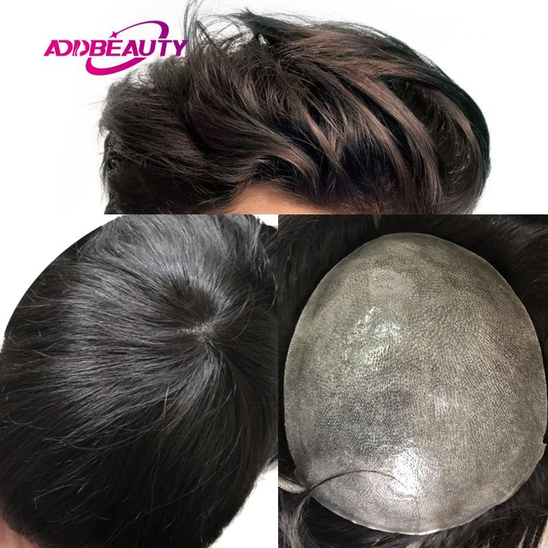 Men's Wig Vloop Thin PU 0.04-0.06mm Human Remy Hair Replacement System Straight Wave Handmade Men Toupee Hairpiece Dark Brown