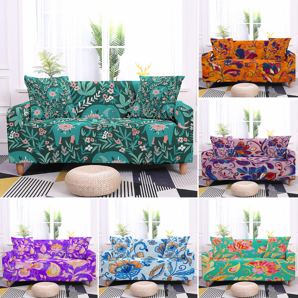 Elastic Sofa Slipcovers Modern Universal Sofa Cover For Living Room Stretch Spandex L-shape Couch Cover Home Decor 1/2/3/4-seat недорого