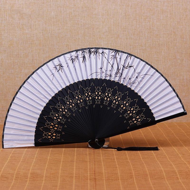 Abanico de mano plegable de seda china Para mujer, ventilador plegable de...