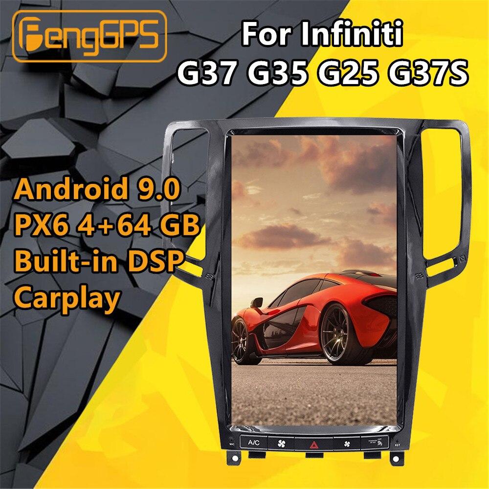 Tesla Screen Android PX6 For Infiniti G37 G35 G25 G37S Skyline Car multimedia Stereo player dvd Radio Audio GPS Navi Head unit