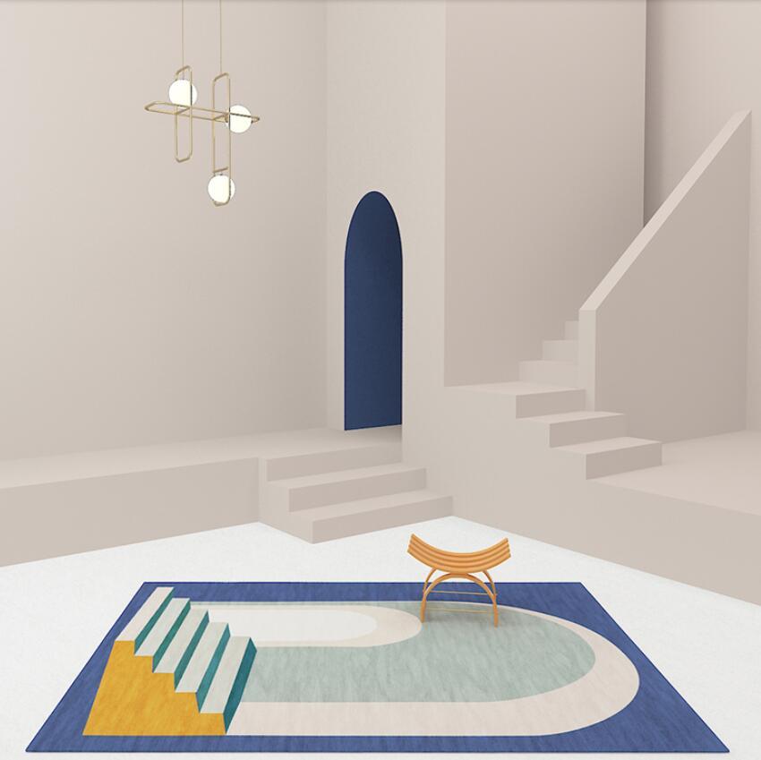 سجاد ضوء على الطراز الاسكندنافي ، فن تجريدي ، هندسي ، مستطيل ، لطاولة القهوة ، غرفة النوم ، أريكة