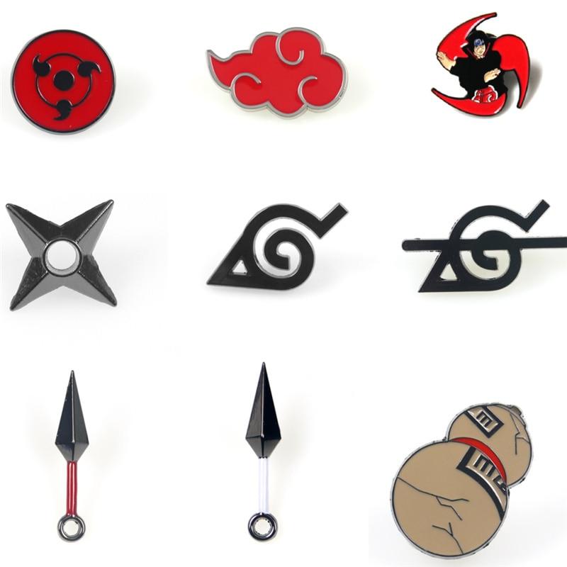 9 estilo Anime Naruto broche pin mochila camiseta insignia para ropa joyería de moda