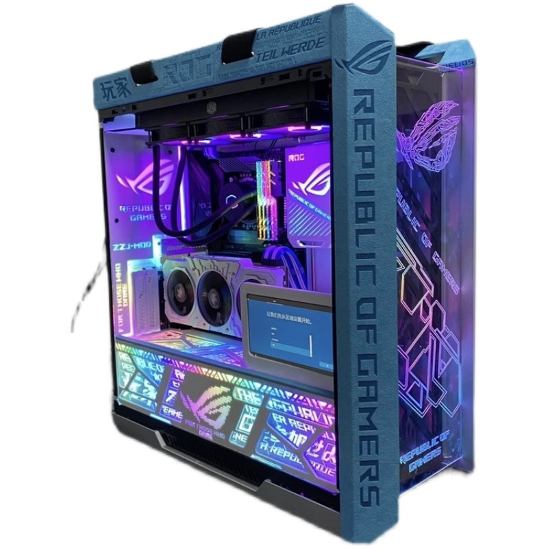 ROG Strix Helios PC Case MOD ROG Cover ASUS ROG HELIOS GX601Leather Armor Suede Coat Shroud ATX Chassis Flipping Decoration MOD