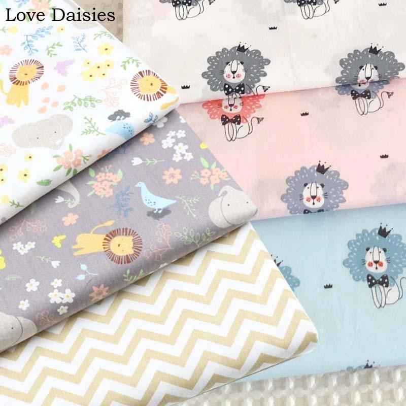 Cartoon WHITE BROWN GRAY PINK BLUE Lion Elephant Bird Small Flower 100% Cotton Twill Fabrics for Kids Cushion Sheet Dress Decor