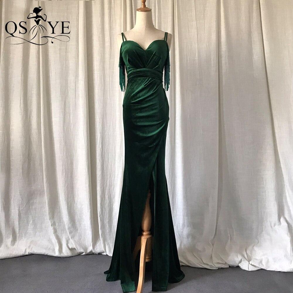 فستان سهرة مخملي أخضر زمردي مطرز بالخرز للحفلات الراقصة فستان منقسم مثير برقبة على شكل قلب وخرز رسمي للنساء