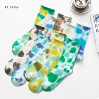 new tie dye streetwear ins style socks cotton vortex couples fashion basketball long funny soft hiphop trend men and women socks
