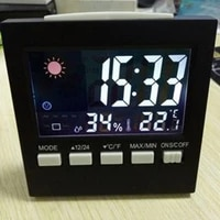 lcd electronic digital weather station alarm clock thermometer wireless temperature humidity meter table clock