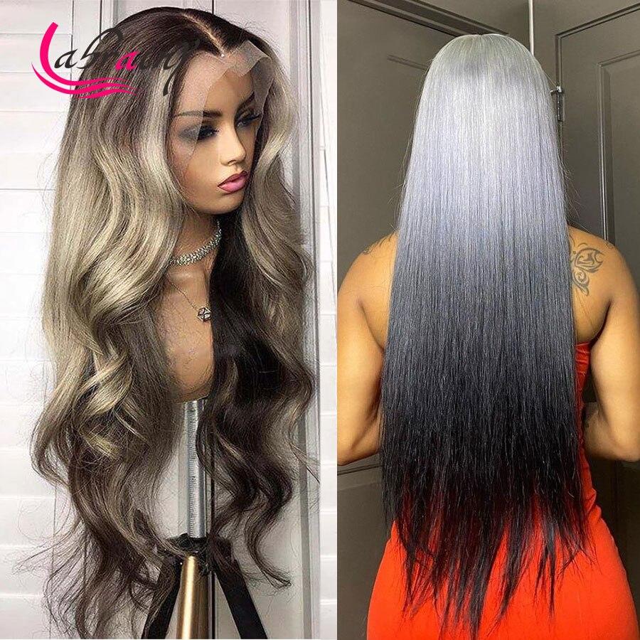 40 дюймов 13x6 выделение пепельно-серый HD кружевные фронтальные человеческие волосы парики Омбре 613 блонд передний парик полный тело волна пре...