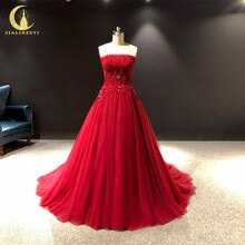 Rhin réel photos sans bretelles perles rouges cristal a-ligne arabe robe formelle robes de soirée longue 2020