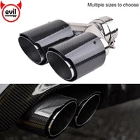 universal dual exhaust tip glossy carbon fiber exhaust tip black coated stainless steel muffler tip tail pipe for bmw benz audi