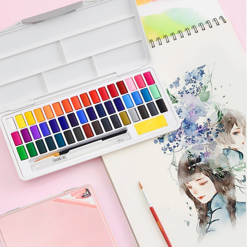 paul rubens 12 24 48 watercolor paint set with metal case solid artist water color painting pigment for drawing art supplies Macaron Style Solid Water Color Paint Set Bright Color High Capacity Watercolor Painting Pigment Set For Drawing Art Supplies