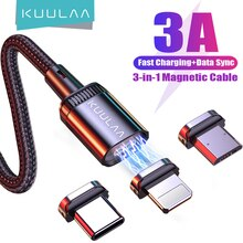 KUULAA LED מגנטי USB כבל 3A מהיר טעינת סוג C כבל מגנט מטען מיקרו USB כבל נייד טלפון עבור iPhone 13 12 11 כבל