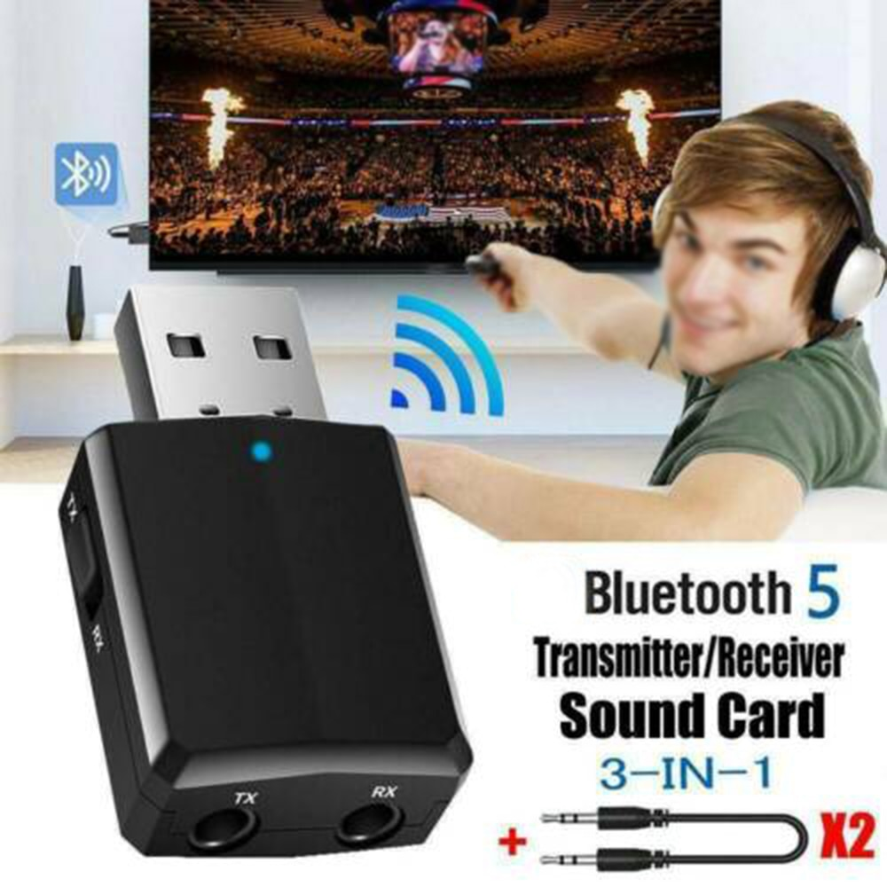 USB Bluetooth 5,0 transmisor receptor 3 en 1 Adaptador de EDR Dongle...