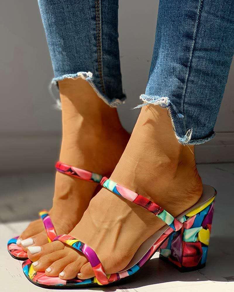 Sandalias chancletas para mujeres y zapatos de tacón alto a la moda...