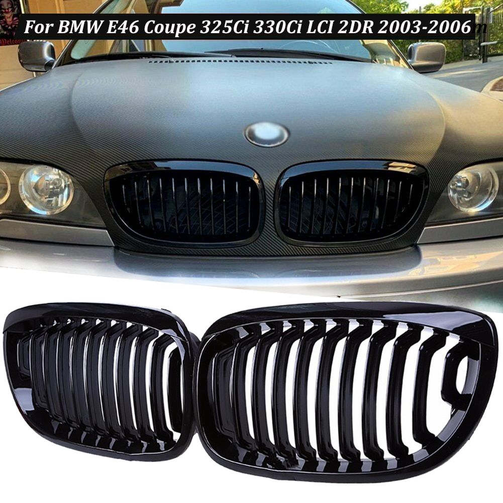 AliExpress - 2pcs Gloss Black Front Kidney Grill for BMW E46 Coupe 325Ci 330Ci LCI 2DR 2003-2006 Car Exterior Accessories