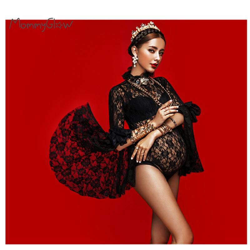 Lace Bodysuit Maternity Photography Props pregnancy Photo Shoot Jumpsuits For Pregnant Women Flared sleeves see-through