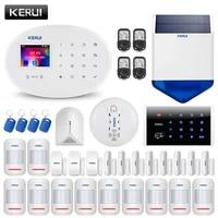 KERUI     systeme dalarme domestique sans fil W20  wi-fi  GSM  panneau de 2 4 pouces  sirene de 80db  detecteur de verre brise  controle par application