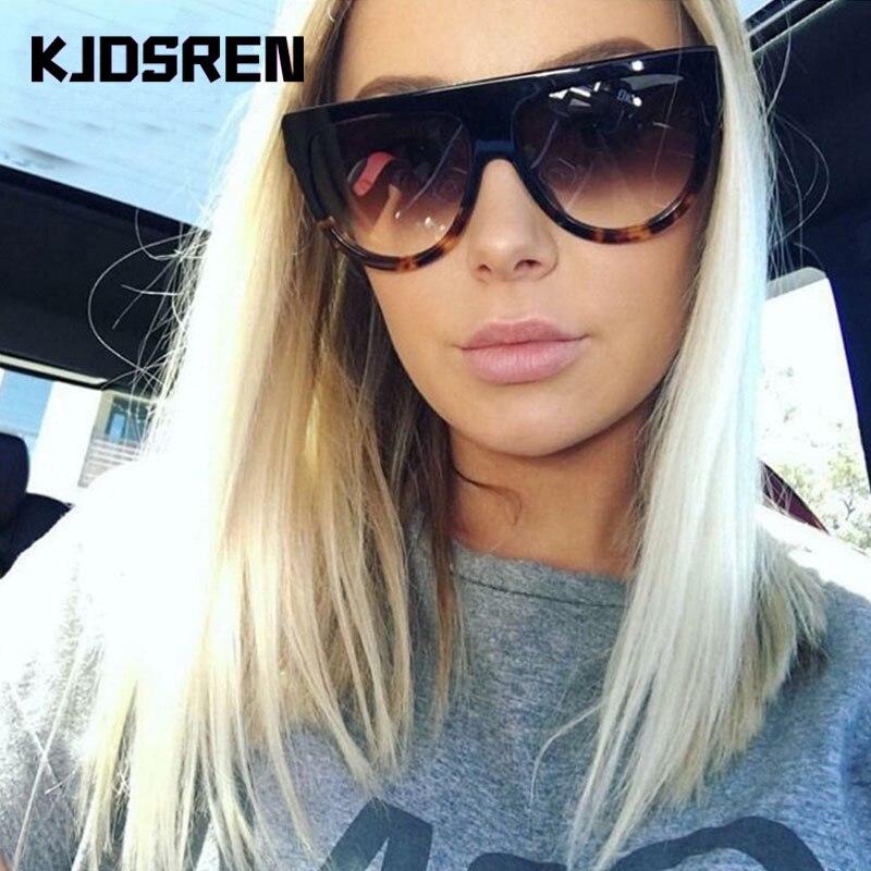 KJDSREN Brand 2020 Sunglasses Women Gradient Lens Black Leopard Flat Top Oversized Shadow Shield Lad