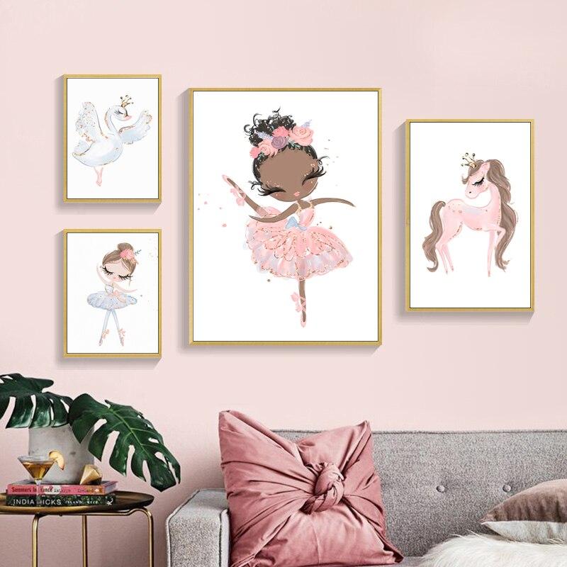 Póster de princesa de Ballet con dibujos animados bonitos pintura en lienzo imágenes de pared nórdicas para decoración de habitación de niños y bebés