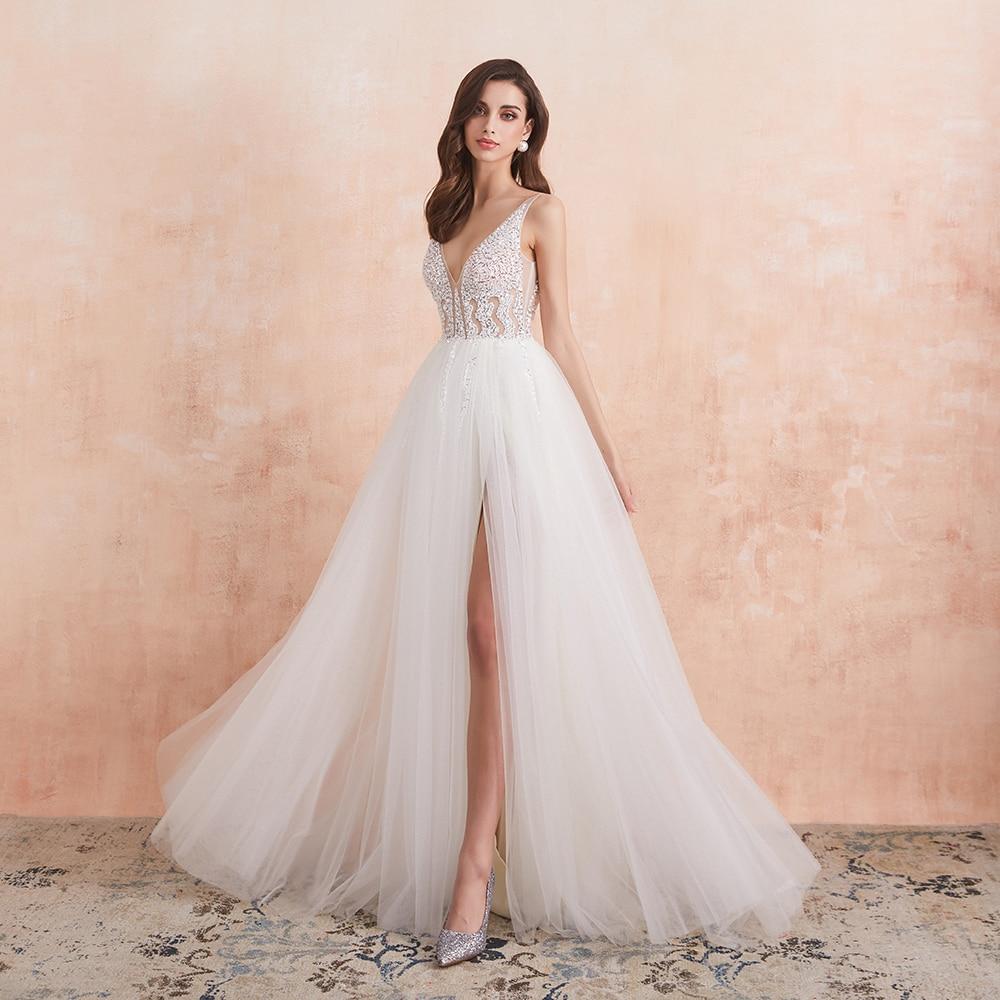 V Neck Wedding Dress White Ivory  High Splits Beaded Beading Pearls Crystal A Line Backless Bridal Gown Vestido De Noiva