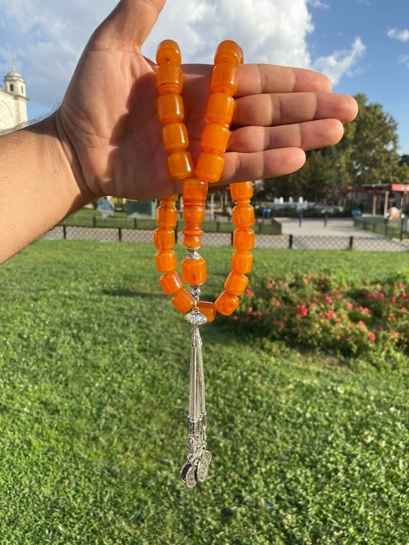 Ottoman Faturan German Amber Sandalous Misbaha Prayer Beads Islamic Gift Tasbih Tasbeeh Tasbeh Rosary Tasbih # 40D
