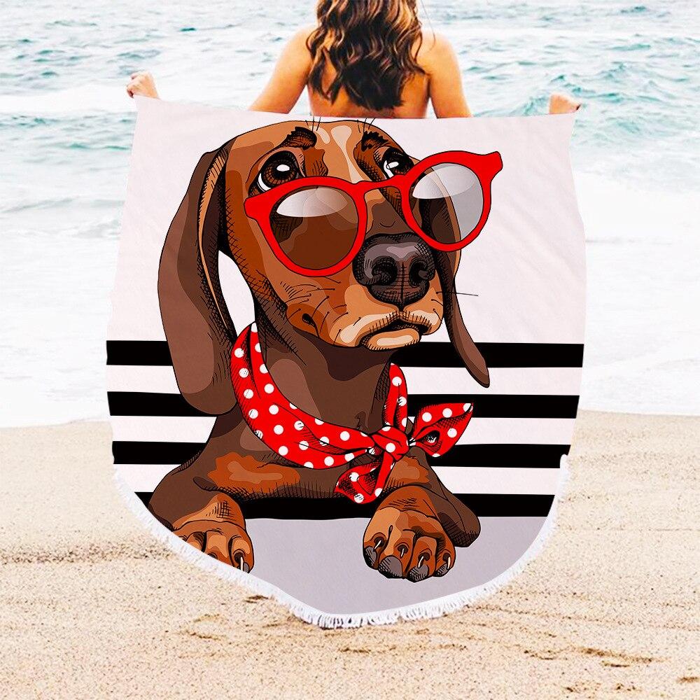 Beach Towels Printed Cartoon Dog Cartoon Image Beach Towel Microfiber Round Fabric Bath Towels for Living Room Home Decorative